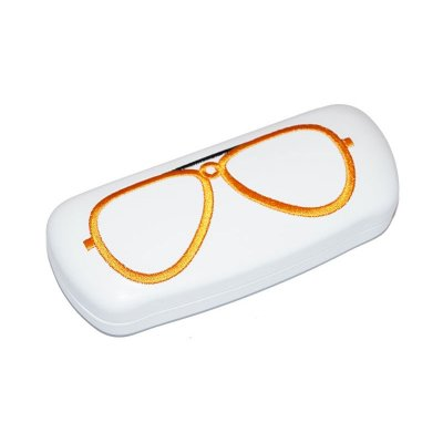 Brillenetui BETTY mit Metallscharnier und gestickter Brille - orange